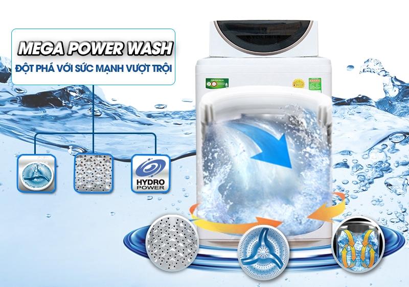 Mâm giặt Mega Power và lồng giặt ngôi sao pha lê