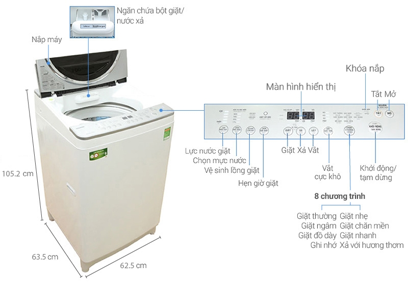 Máy giặt Toshiba AW - DE1100GV (WS)
