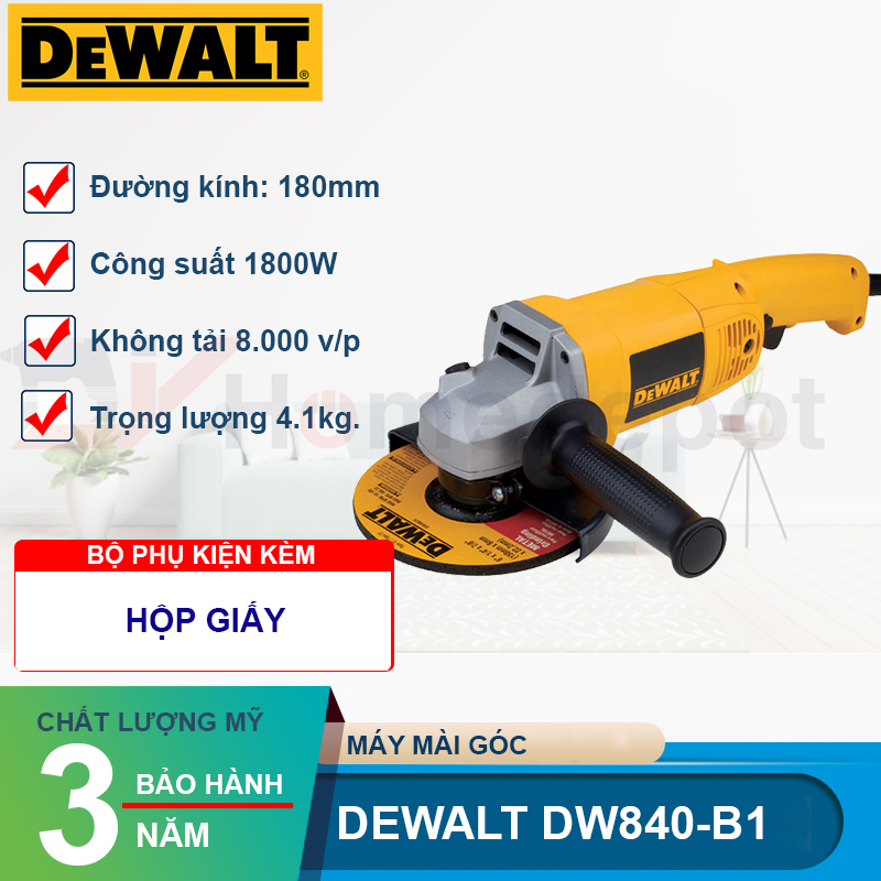 Máy mài góc 180mm 1.800W DeWalt DW840