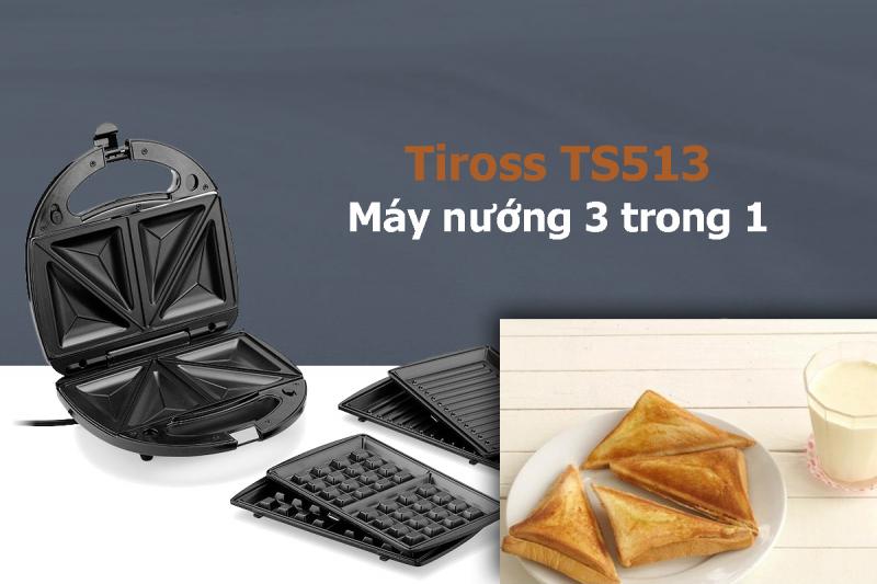 Máy nướng bánh 3 trong 1 Tiross TS-513 giúp bạn dễ dàng nướng bánh sandwich, bánh mỳ kẹp và bánh Waffle cho cả gia đình