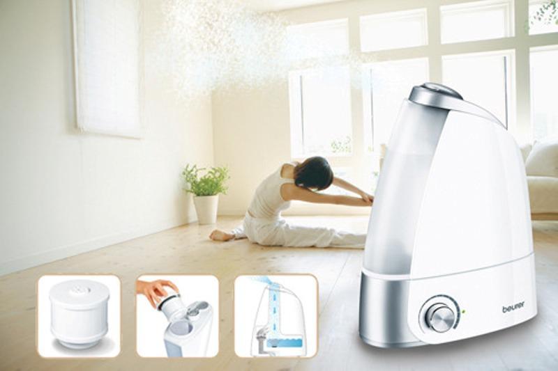 Máy phun ẩm Beurer LB44 - bình chứa 2.8 lít cho phòng 25m2 sẽ thay bạn tự động duy trì độ ẩm lý tưởng trong không khí.
