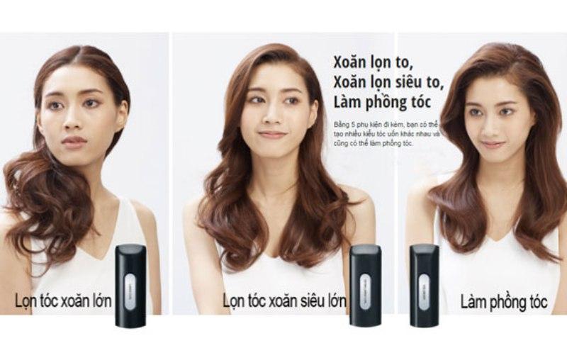 Với 5 thiết bị tạo kiểu tóc, cho phép bạn dễ dàng tạo 6 kiểu tóc khác nhau, khi không sử dụng thiết bị kẹp, bạn có thể kẹp tóc để tạo mái tóc thẳng