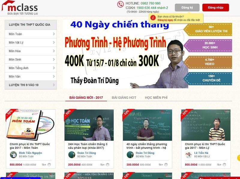 Website luyện thi đại học Mclass.vn