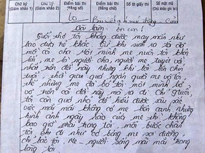 Bài văn viết về mẹ của Nguyễn Thị Kiều Vân đạt điểm 10