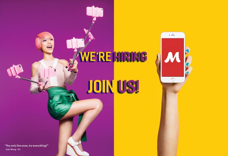 App Meete với biểu tượng chữ M trên phông đỏ