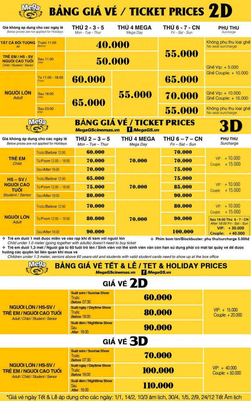 Giá vé mới nhất tại rạp Mega GS Cao Thắng