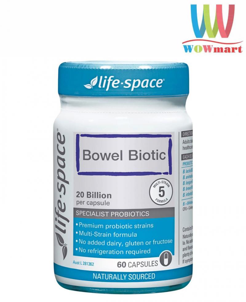 Men vi sinh 20 tỷ lợi khuẩn Life Space Bowel Biotic 60 viên