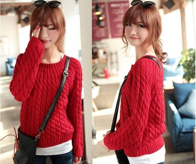 Áo len đỏ đẹp mắt cho bạn nữ vào mùa Thu Đông