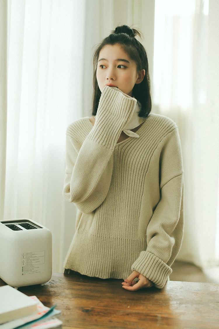 Áo len trắng phong cách Hàn cổ điển và thanh nhã