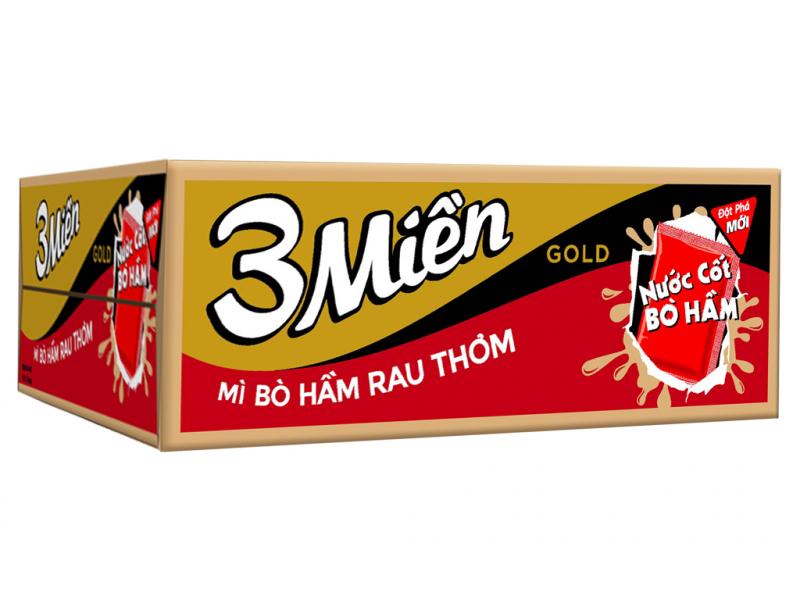 Thùng 30 gói mì 3 Miền Gold bò hầm rau thơm 75g
