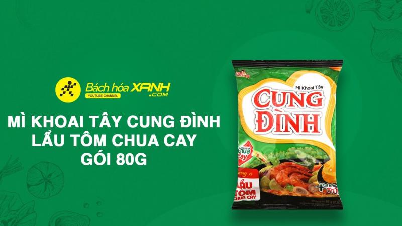 Thùng 30 gói mì khoai tây Cung Đình lẩu tôm chua cay 80g