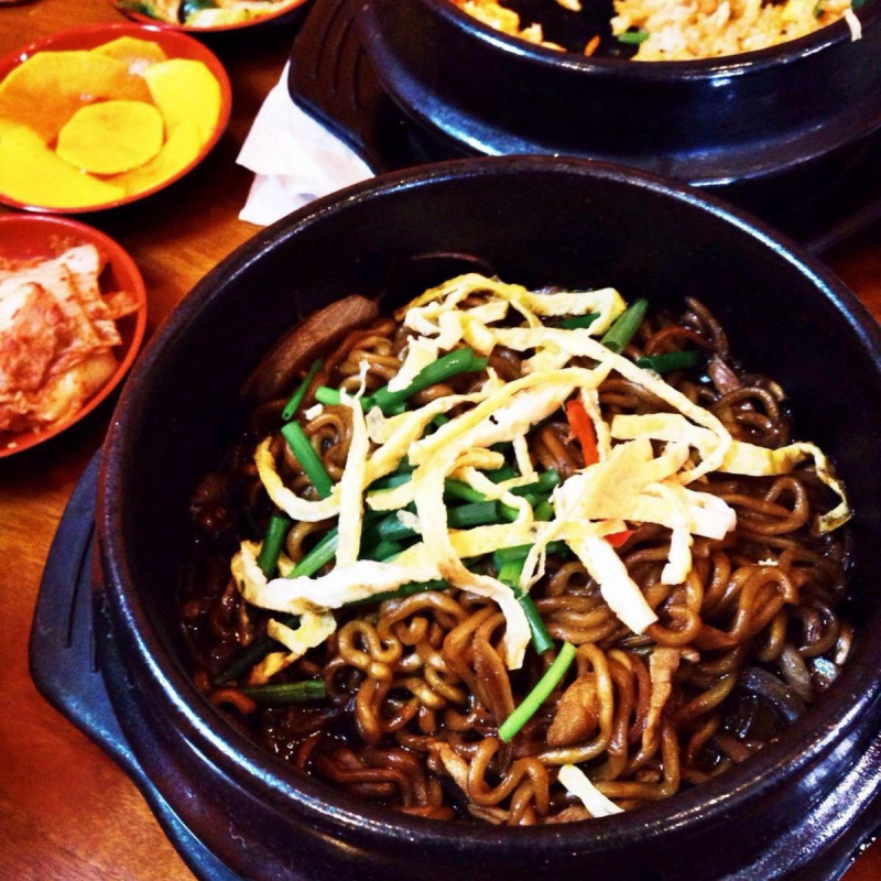 Black noodles - traditional Korean food