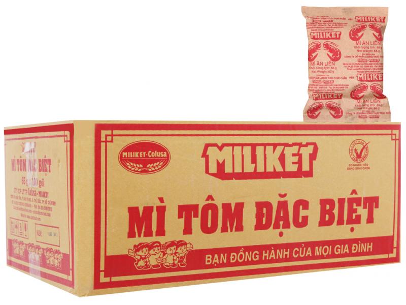 Thùng 100 gói mì tôm đặc biệt Miliket giấy vàng 65g
