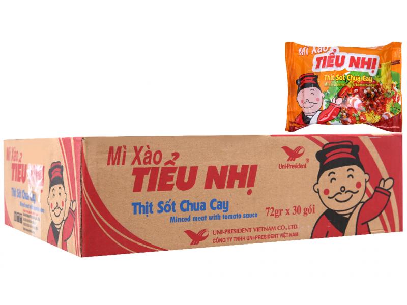 Thùng 30 gói mì xào Tiểu Nhị thịt sốt chua cay 72g