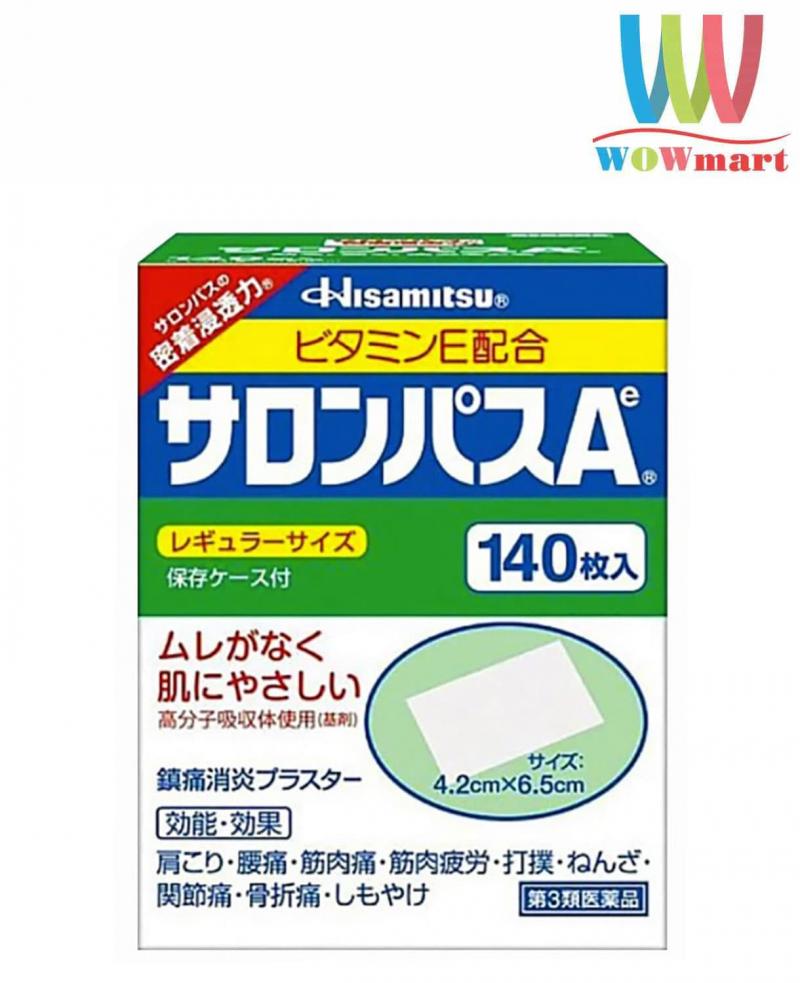 Miếng dán Salonpas giảm đau Nhật Bản Salonpas 140 miếng cho những vùng như vai, cổ, các khớp, cơ, bong gân… Hiệu quả giảm đau của nó lên đến 8 giờ, trả lại cho bạn năng suất làm việc hiệu quả.