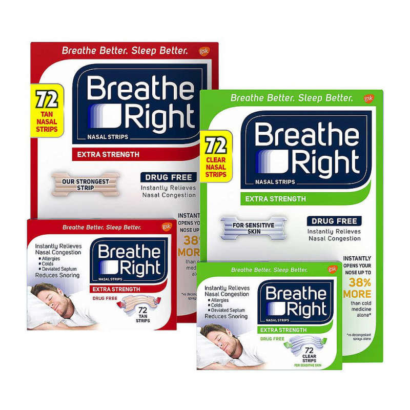 Miếng dán thông mũi giảm chứng ngủ ngáy Breathe Right