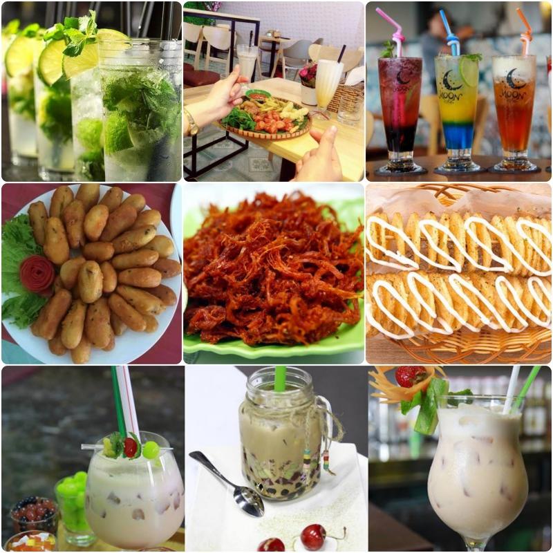 Đồ uống và đồ ăn vặt tại Moon Tea and Coffee