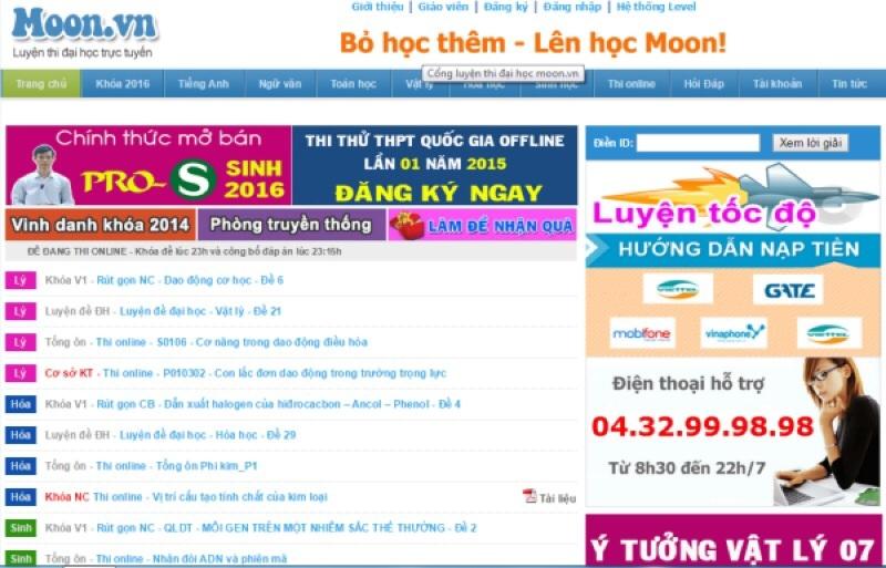 Website luyện thi đại học Moon.vn