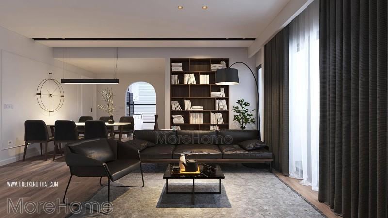 Cân bằng màu sắc bằng cửa kính rộng, sự phối hợp ăn ý tạo chiều sâu và sự thoáng đãng cho dù căn chung cư có diện tích không hề lớn