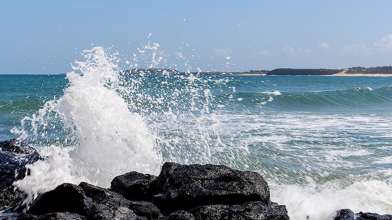 Những con sóng vỗ bờ, tung bọt trắng xóa.