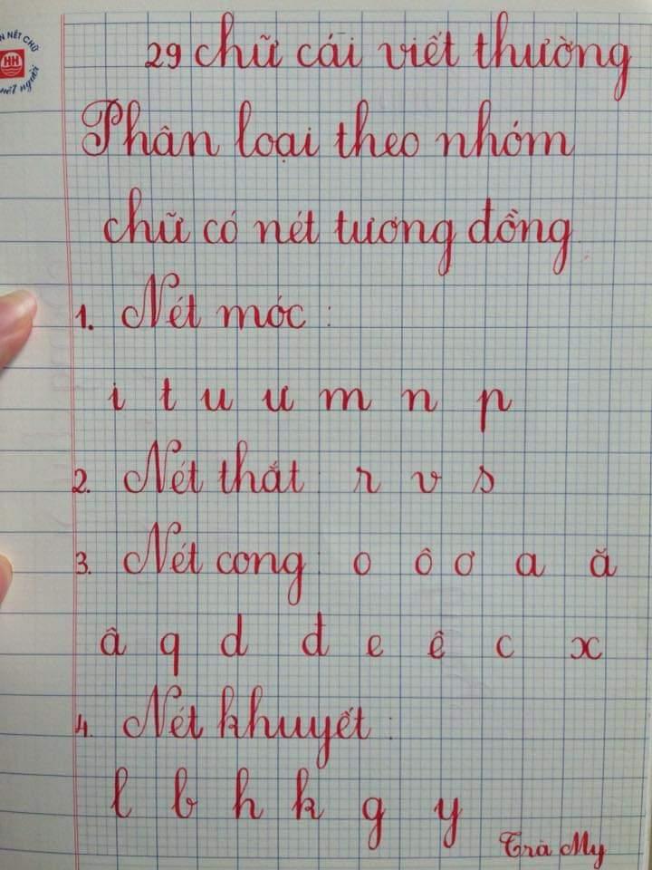 Một số nhóm chữ theo nét