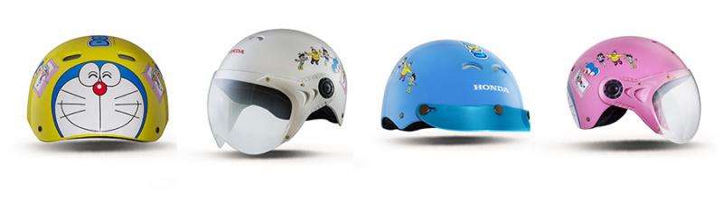 Mũ bảo hiểm trẻ em HONDA có 4 màu sắc tươi sáng cho các bé lựa chọn là: Trắng, Hồng, Vàng và Xanh với 02 phiên bản có kính & có lưỡi trai.