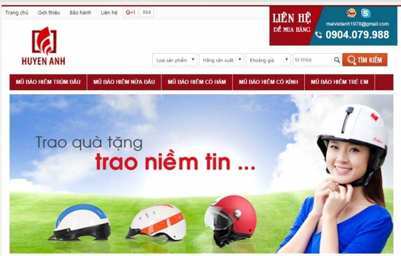 Website của Shop mũ bảo hiểm Huyền Anh
