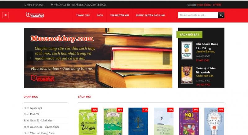 Giao diện của website Muasachhay.com
