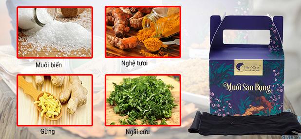 Thành phần chính của muối săn bụng Việt - Care dành cho mẹ sau sinh