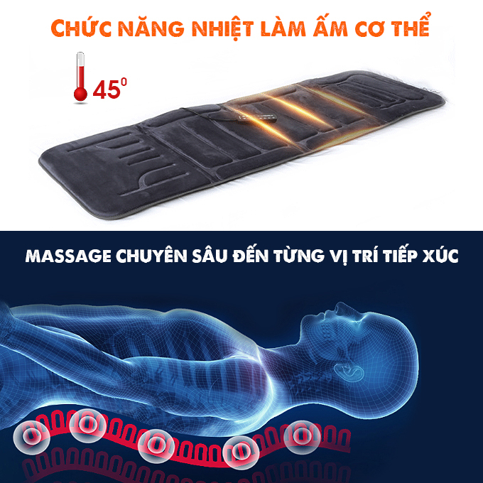 Nệm massage toàn thân Fuki Japan FK-M799 (tích hợp nhiệt và đèn hồng ngoại)