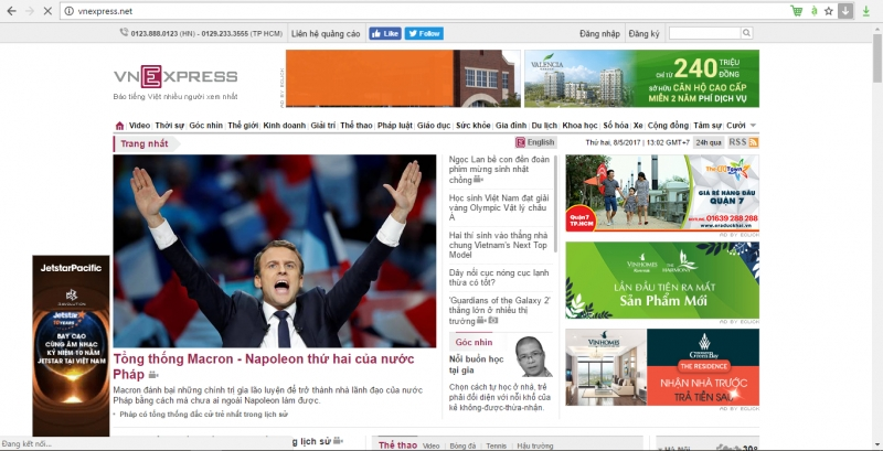 VnExpress một trang tin số 1 tại Việt Nam với tên miền .net