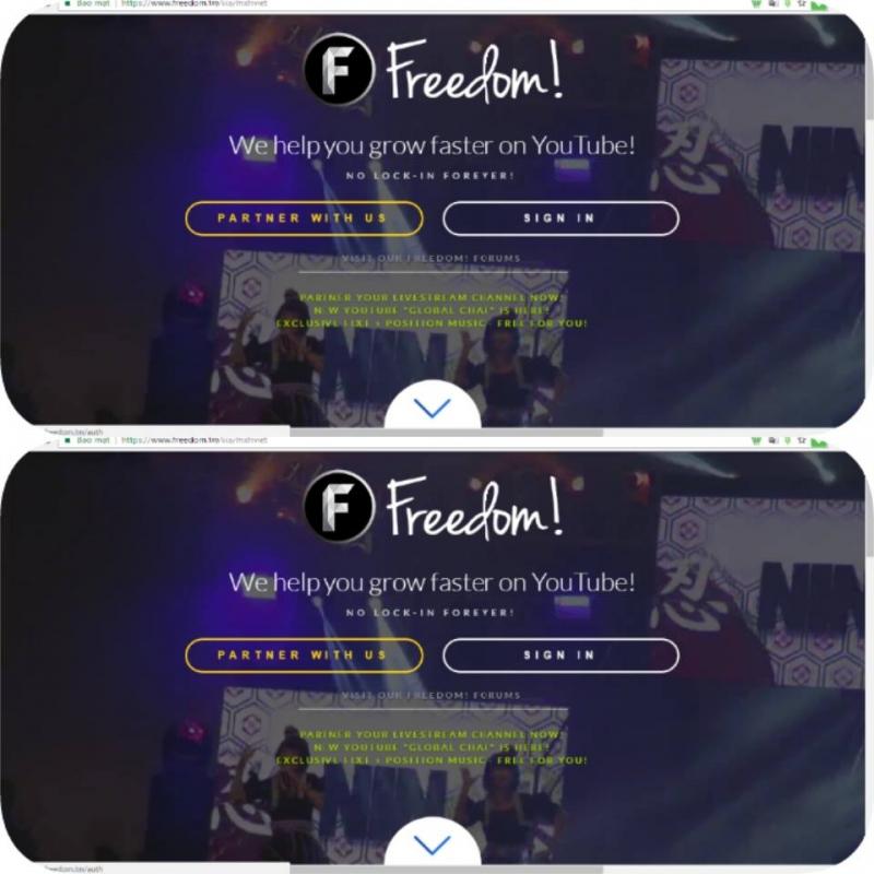 Giao diện đăng ký của Network Freedom
