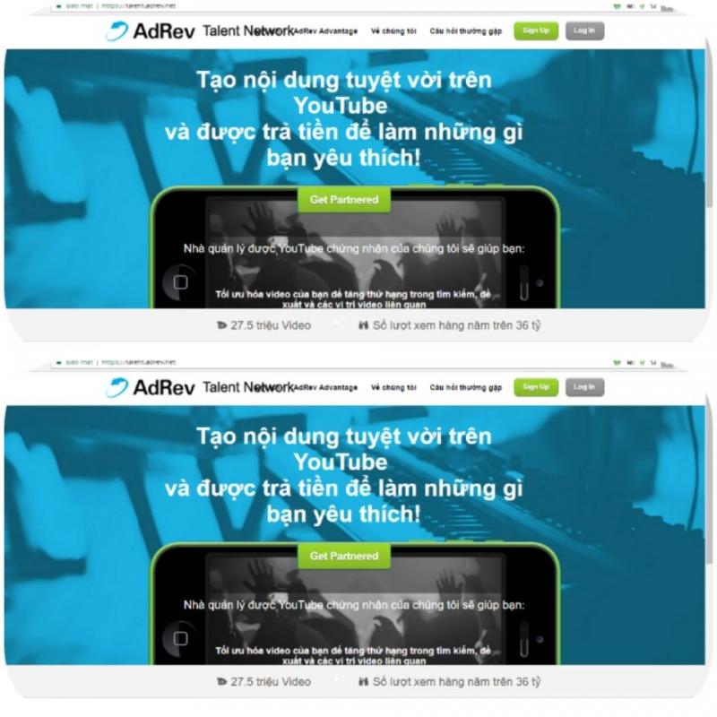 Giao diện đăng ký của Adrev Talent Network