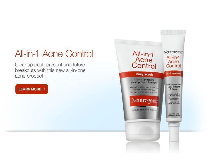 Sữa rửa mặt Neutrogena All-in-1 Acne Control và Gel Neutrogena All-in-1 Acne Control