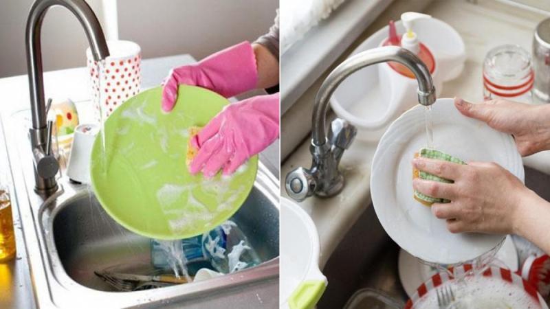 Không nên ngâm bán đĩa vào chậu rửa bát