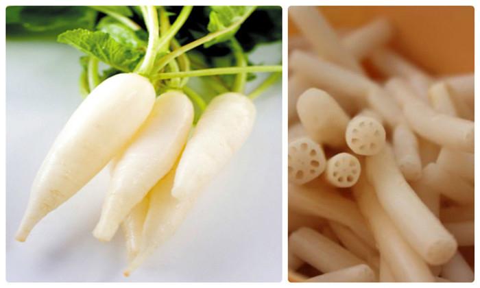 Ngó sen và củ cải trắng