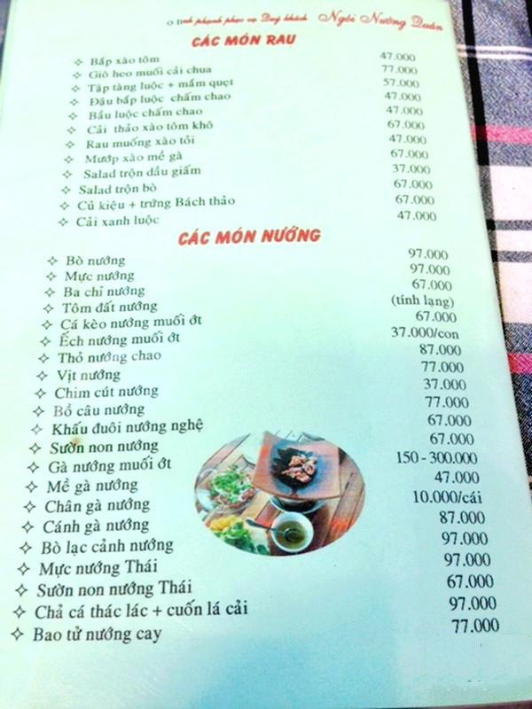 Menu tại nướng ngói quán với hơn 30 món khác nhau