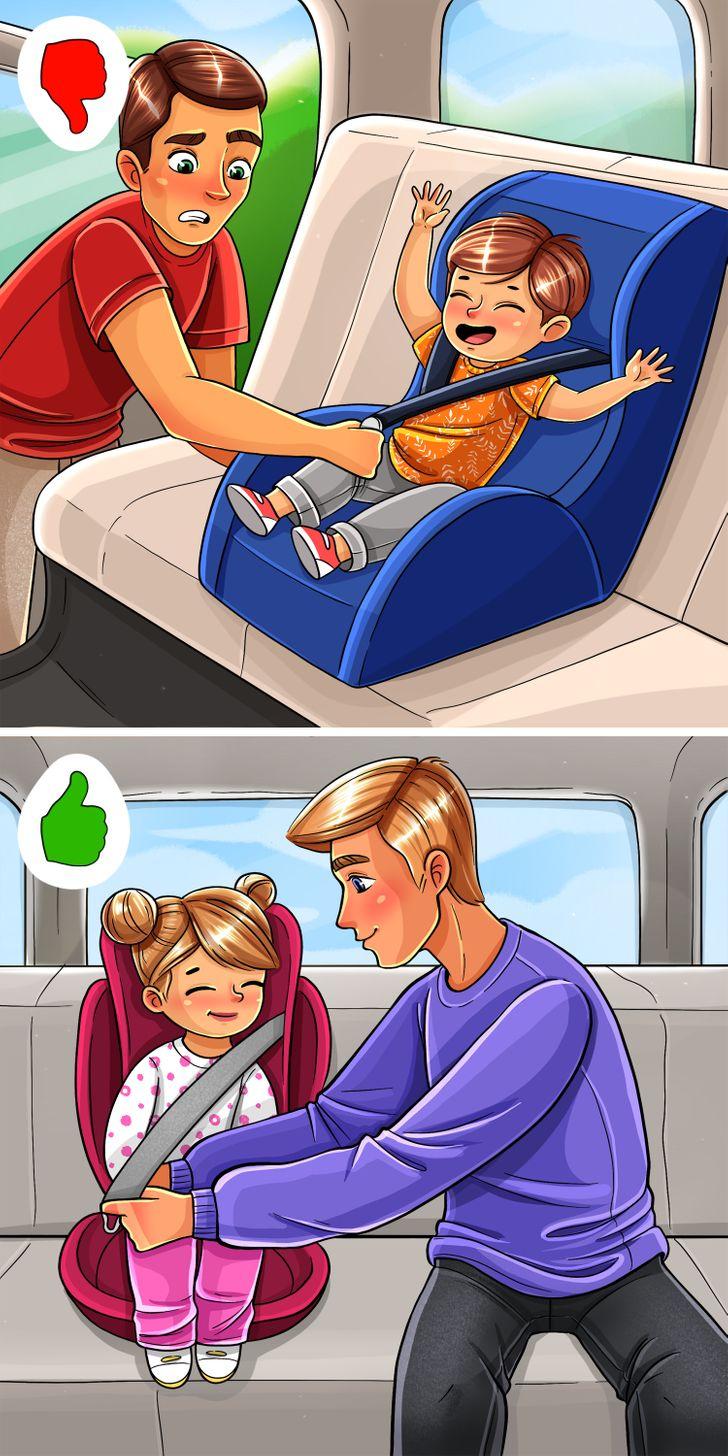 Ngồi trong xe hơi khi đặt bé ngồi ở ghế riêng của con