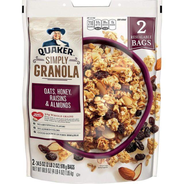 Ngũ cốc yến mạch Quaker Simply Granola nho khô hạnh nhân mật ong