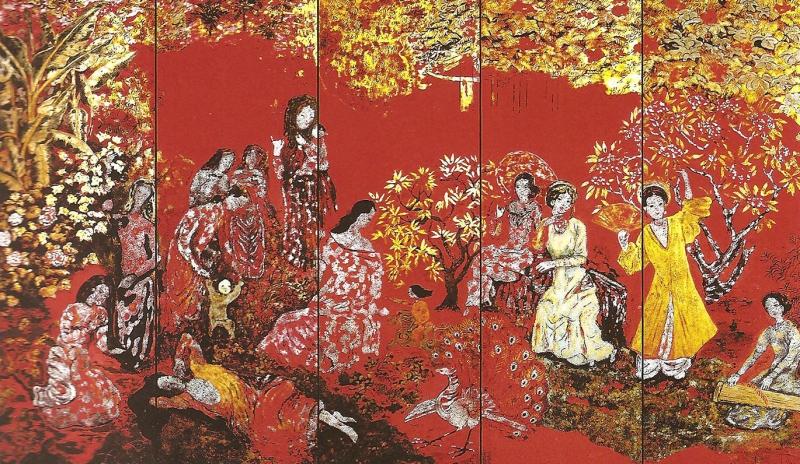 """Tác phẩm sơn mài """"Vườn xuân Trung Nam Bắc"""" của họa sĩ Nguyễn Gia Trí."""