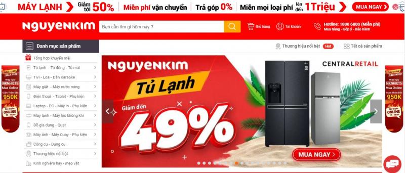 Website siêu thị điện máy Nguyễn Kim