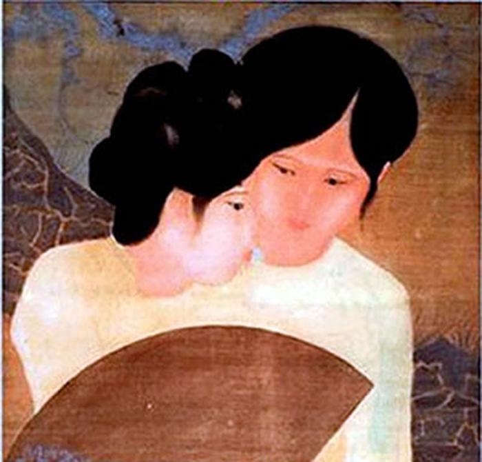 """Tranh """"Đôi bạn"""" của họa sĩ Nguyễn Tường Lân."""