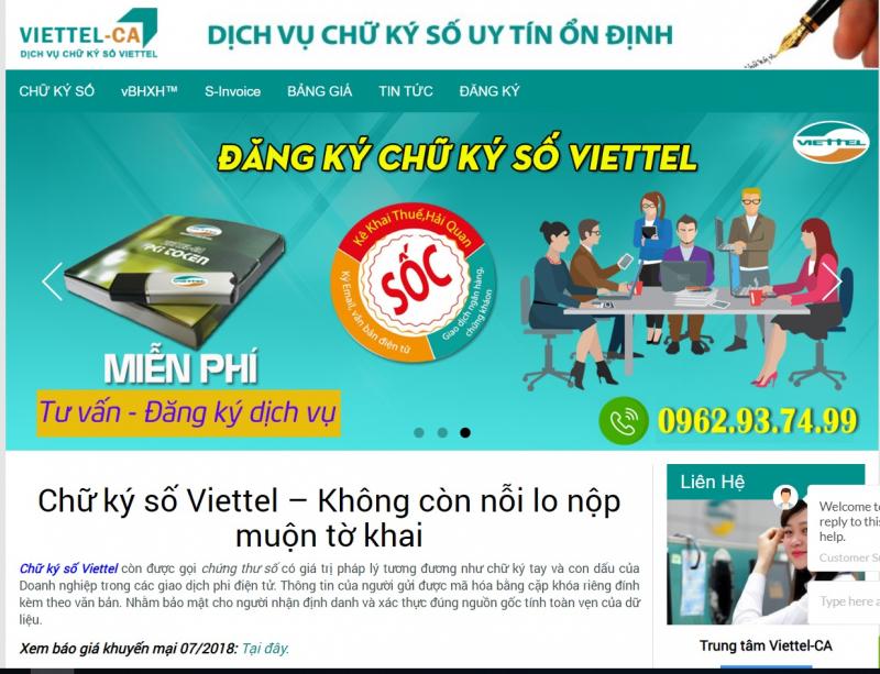 Nhà cung cấp chữ ký số Viettel-CA