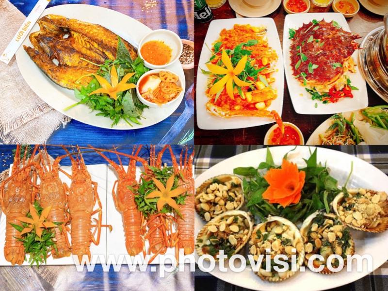 Một vài món hải sản sau chế biến tại Nhà hàng Lưới Biển