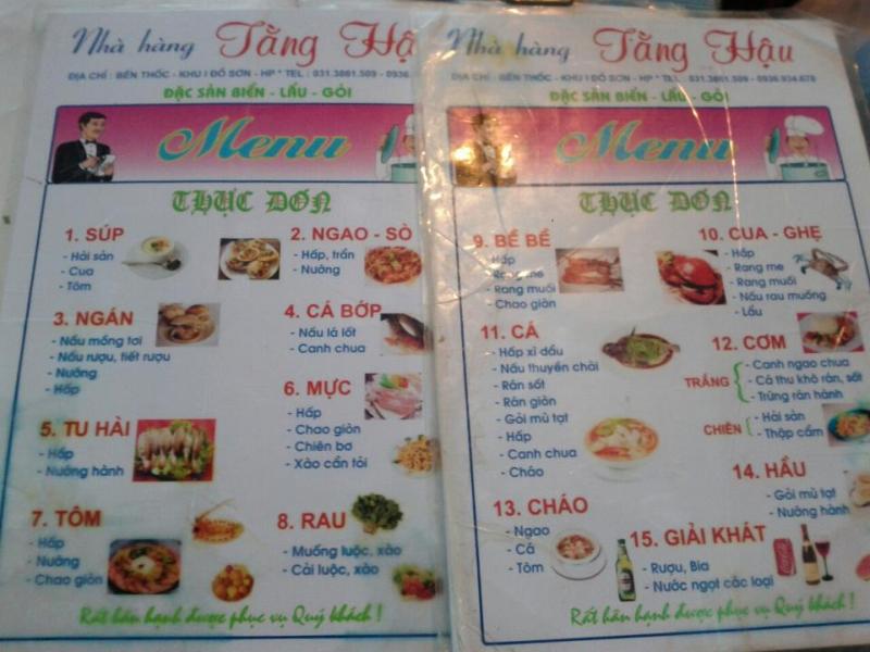 Thực đơn đa dạng của nhà hàng với các món đặc sản chế biến từ hải sản
