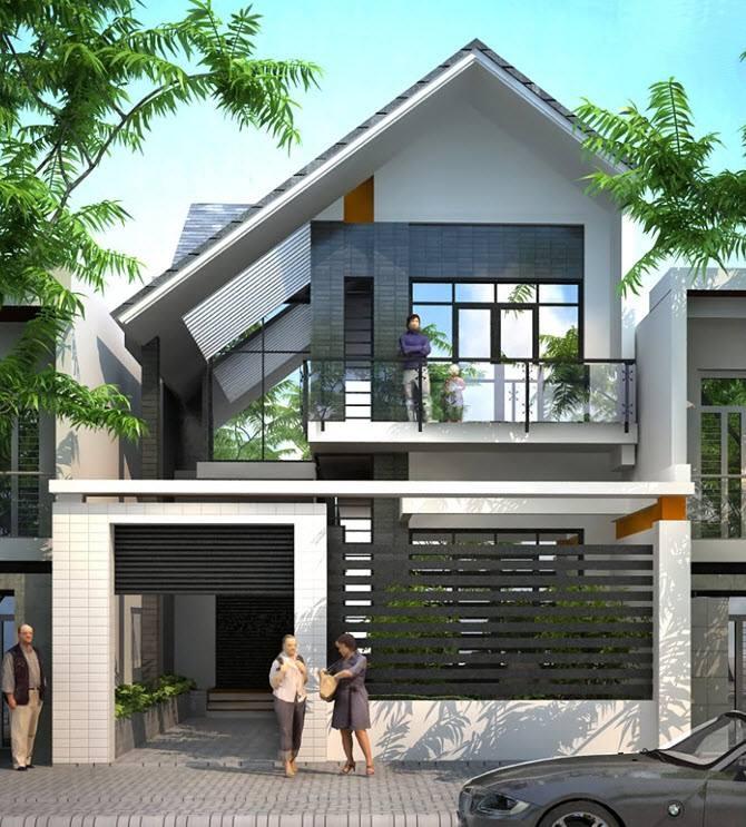 Vừa đẹp lại vừa hiện đại. Một cái giếng trời được thiết kế bên phía mái lệch, làm mở không gian căn nhà của bạn.