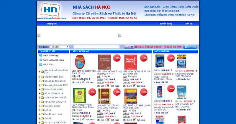 Giao diện website của Nhà sách Hà Nội