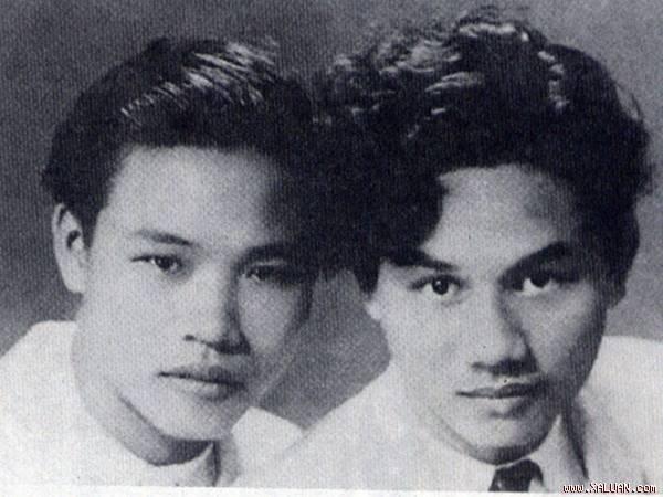 Nhà thơ Huy Cận (trái) và nhà thơ Xuân Diệu