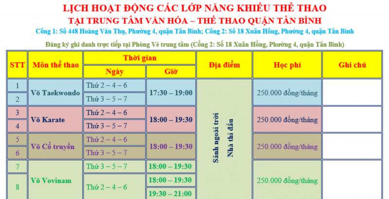 Giờ học, địa điểm và học phí các lớp võ tại Nhà văn hoá Tân Bình