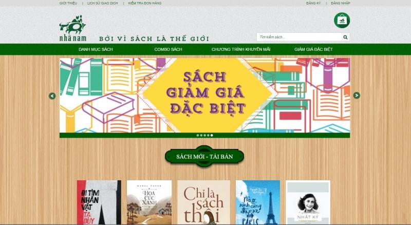 Giao diện website của Nhà sách Nhã Nam